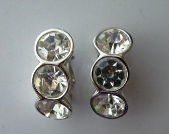 Vintage Clear crystals Swarovski clip-on earrings. SAL. 1980s.