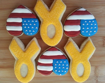 Support Our Troops Yellow Ribbons USA Flag Heart Sugar Cookies