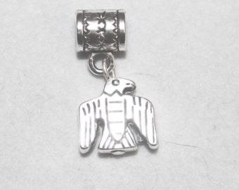 Silver Thunderbird Lrg Hole Bead Fits All European Add a Bead Charm Bracelet Jewelry Pnd-An89