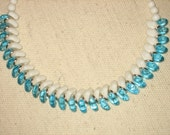 Milk Glass Vintage Choker with Turquoise Beads Woven Design, Germany