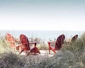 Art, Photography, Wall Art, Lakeshore, Red Adirondack Chairs, Blue Water, 8x10, 11x14,16x20 inch Prints