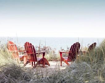 "Lake prints, Lake Art, Photography, Wall Art, Lakeshore, ""Along The Lake"", Red Adirondack Chairs, Blue Water, 8x10, 11x14,16x20 inch Prints"