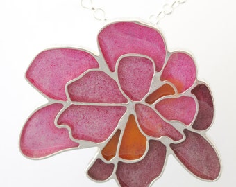 Sterling Silver  Resin Resinate Wisha Necklace- Pinks