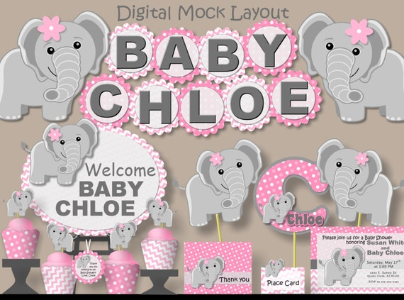 Pink Elephant Baby Shower Centerpiece Or Birthday Party Decorations Girl    3 Pieces   Personalized Name/Age, Printed