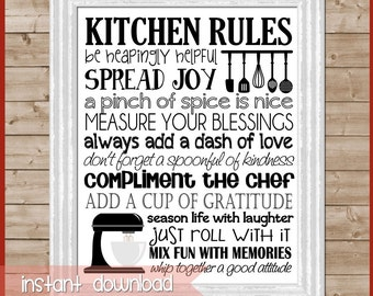 Kitchen Rules Subway Art, Kitchen Wall Art, Kitchen Decor, Baking Art, Kitchen Aid, Family Motto, Family Rules - Printable Instant Download