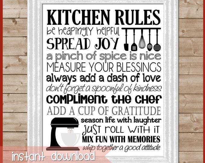 printable decor kitchen rules