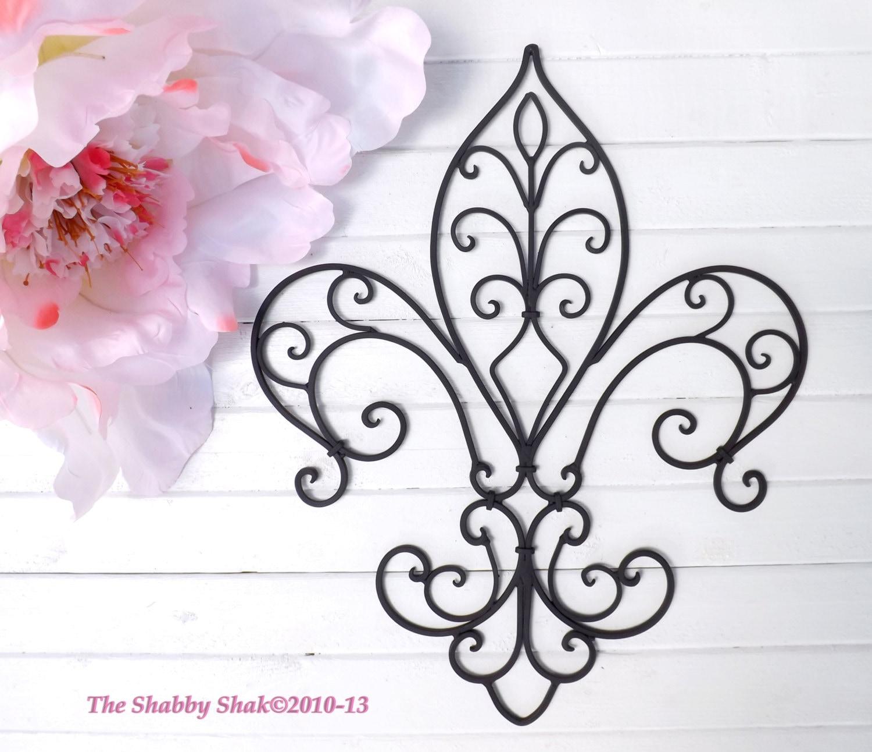 Metal Fleur de lis Wall Decor Shabby Chic Home Black Wall