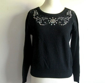 Vintage 1960s Knitted Sweater Black Beaded Pin Up Nylon Jumper 16