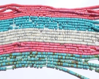 """Heishi beads Variety Pack. MaTTE Finish. Reconstituted Turquoise Howlite Coral Rhodonite  13"""" strand. 5 Strands. 4mm (H-VP201)"""