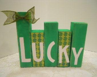 St. Patrick's Day LUCKY Mini Word Blocks Decoupaged