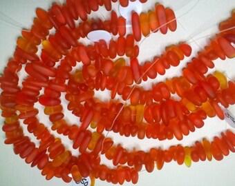 Variegated Tangerine Cultured Sea Glass pebble beads