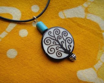 Tree of Life Charm Pendant Batik Bone and Turquoise Beaded Necklace Boho Hippie African Tribal Jewelry