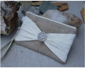 Burlap Wedding Bag - Satin Wristlet - Bridesmaids Gifts - Burlap Bags - Burlap Wristlets