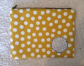 Zip Pouch Clutch Yellow Polka Dot Black Mini Dot Appliqué