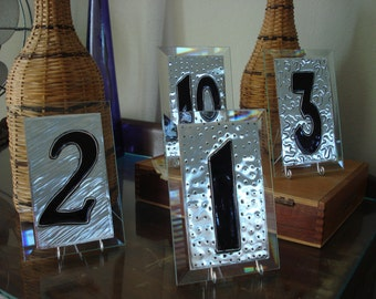 "Table Numbers Wedding Large Glass and Metal Silver Table Numbers 10pk  LARGE 6""x4"" with holders included."