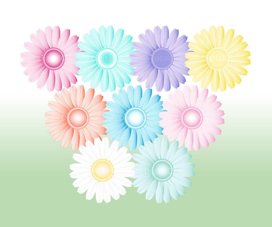 Digital flower clipart Gerbera Daisy Pastel Flower png flower