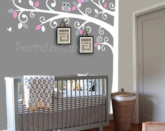 Nursery wall decal - Wall Decals Nursery -  Corner Tree Wall Decal. Girl Wall Decal Tree. Nursery Decals - Tree Girl