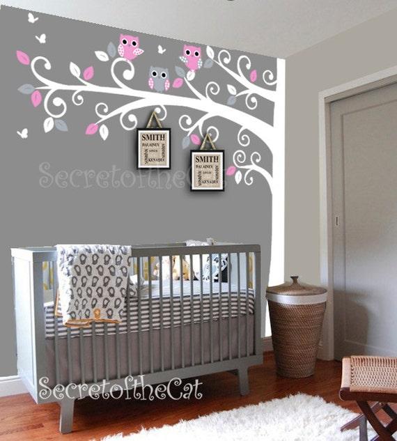 Nursery wall decal wall decals nursery corner tree wall - Stickers arbres chambre bebe ...