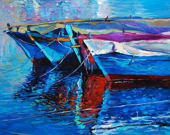Original Oil Painting on Canvas-Blue Harmony 26x20in Landscape Painting-Original Art -Impressionistic Oil on Canvas by Ivailo Nikolov