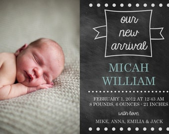 Chalkboard Birth Annoucements