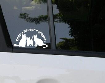 TNR Trap Neuter Return Cat Decal, feral, feral cat, feral cat colony, TNR, trap, neuter, release
