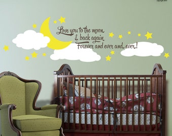 Love You to the Moon and Back kids wall decals