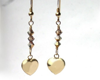 Gold Heart Earrings for Women Swarovski Crystal