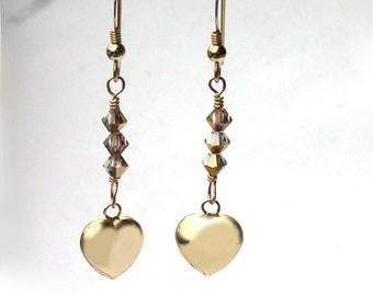 Gold Heart Earrings for Women Swarovski Crystal