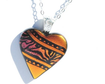 Small Heart Dichroic Glass Pendant, Fused Glass Jewelry - Love, Colorful, Bright, Bold - Hand Etching, Copper, Orange, Black (Item #10656-P)