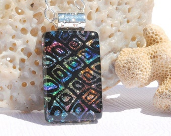Dichroic Fused Glass Jewelry, Dichroic Glass Pendant, Small - Contemporary, Modern, Abstract Geometric - Multicolor on Black (Item #10593-P)