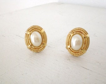 Vintage St. John Faux Pearl Earrings Gold Tone Clip On Signed Mid Century Costume Jewelry GallivantsVintage