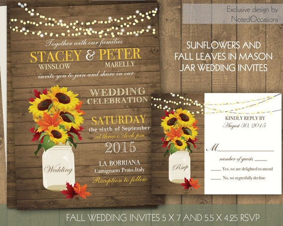 Cheap Sunflower Wedding Invitations: Rustic Fall Wedding Invitations Suite Fall By NotedOccasions