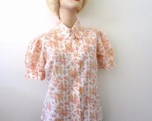 1970s Floral Print Blouse - cotton blend semi-sheer shirt -vintage prairie princess