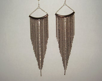 Statement Gunmetal Color Long Metal Bead Chain Earrings, Chandelier Earrings, Dangle Earrings, For Her