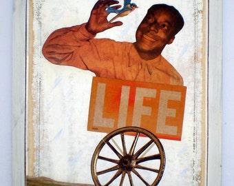 Original Collage Art on Wood (ready to hang, unique retro home decor made with vintage ephemera, OOAK) - Life