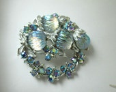 silver ART signed aurora BOREALIS molded glass RHINESTONES brooch