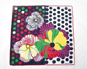 Vintage Hippie Style Handkerchief Unused by Kreier 1960s Flower Child Graphics Blue Dots Boho Fashion Accessory Textile Collectible