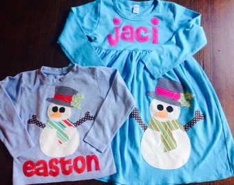 Christmas Dress Shirt Set - Brother Sister Sibling Set -  Snowman Applique Outfits