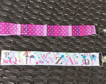 Pacifier clip set-ombre purple and whimsical ABC