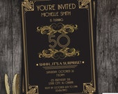 Great Gatsby art deco birthday invitation 21st 30th 40th 50th