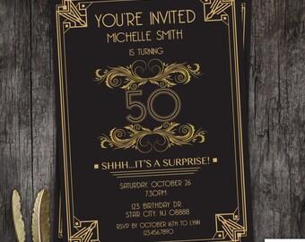 Great Gatsby art deco birthday invitation 21st 30th 40th 50th