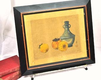 Vintage Japanese Painting Asian Art Silk Rare Original Signed 1910's-1940's Shunpo Tempera Shumpo Tempura of Still Life of Fruit