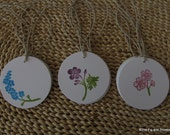 Wildflower Gift Tags - Hand Stamped Set of Twelve Favor Tags