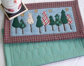 PRIMITIVE COUNTRY CHRISTMAS Mats MugRug HotPads CandleMats in cotton and homespun plaid 13 1/4  x 7 1/2 inches