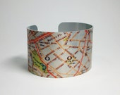 Cuff Bracelet Vintage Brooklyn Map New York Wide Metal Handmade - decembermoondesign