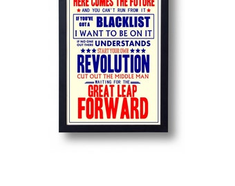 Great Leap Forward Billy Bragg Lyric Typography Wall Art Poster