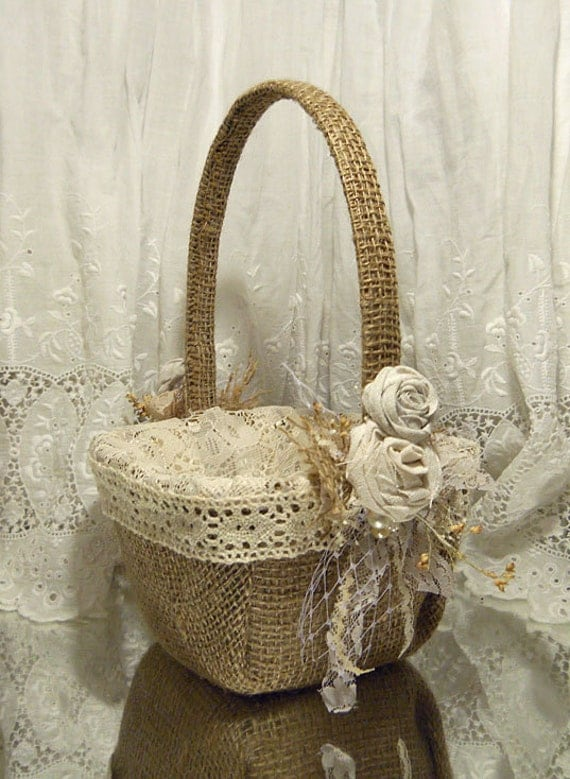 Flower Girl Baskets Burlap : Burlap flower girl basket ready to ship by rusticsweethearts