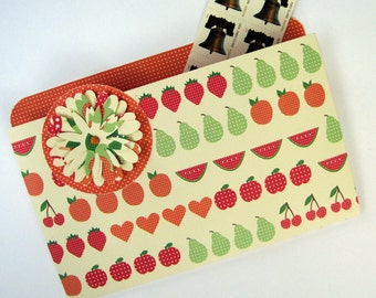 Coupon Organizer and Refrigerator File Folder Magnet in Fruits and Flowers for Recipes, Photos and Notes