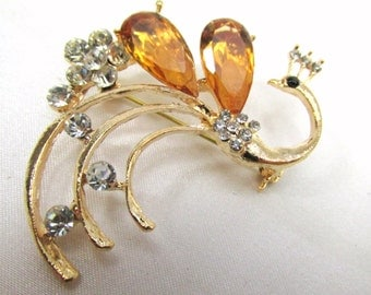 Light Amber Topaz Peacock Brooch in quality Crystal Rhinestones and Gold metal  for wedding bouquet