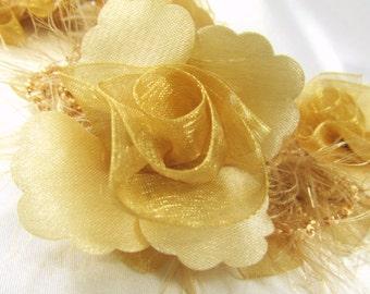 Autumn Gold Beige Ruffled Rose Vintage Inspired Bridal or Decorator Trim - By the Flower, Half Yard or Yard